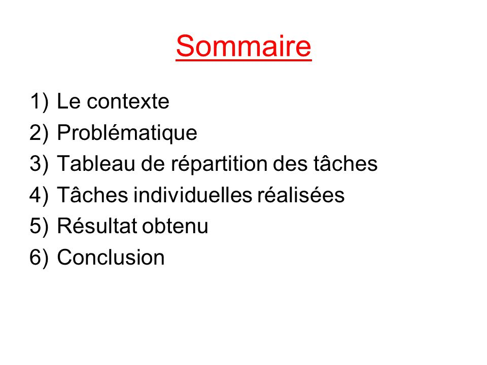 Sommaire Le contexte Problématique Tableau de répartition des tâches