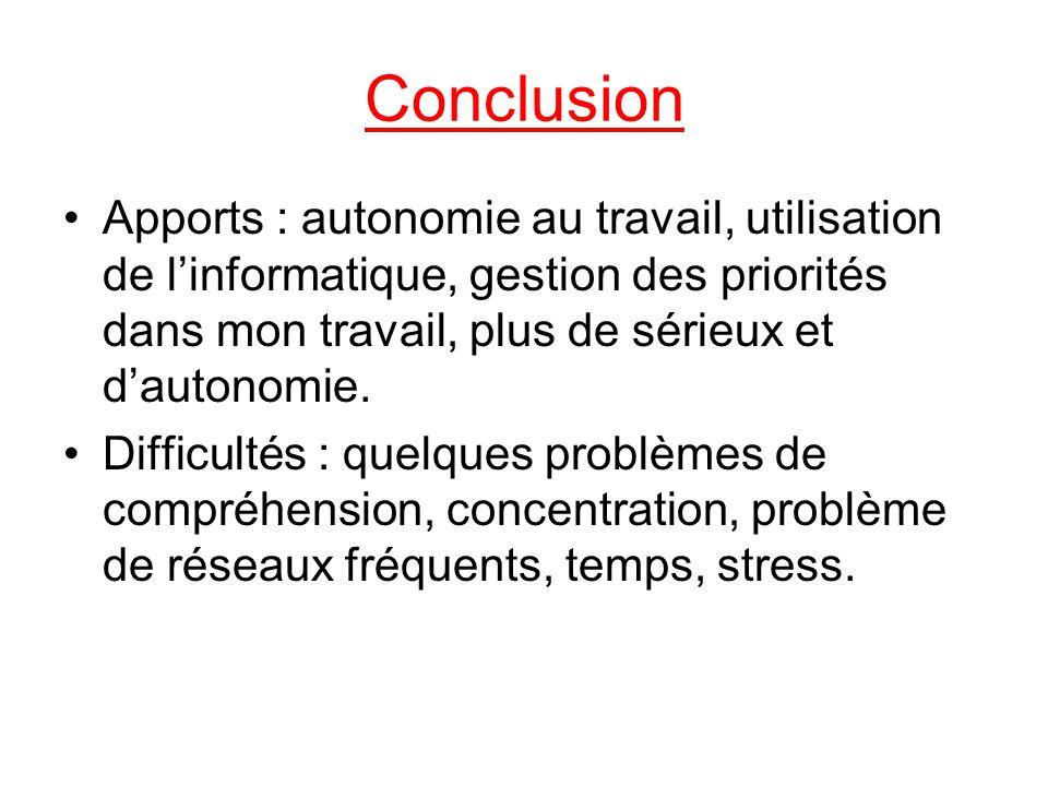 Conclusion Apports : autonomie au travail, utilisation de l'informatique, gestion des priorités dans mon travail, plus de sérieux et d'autonomie.