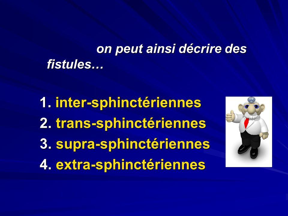 2. trans-sphinctériennes 3. supra-sphinctériennes