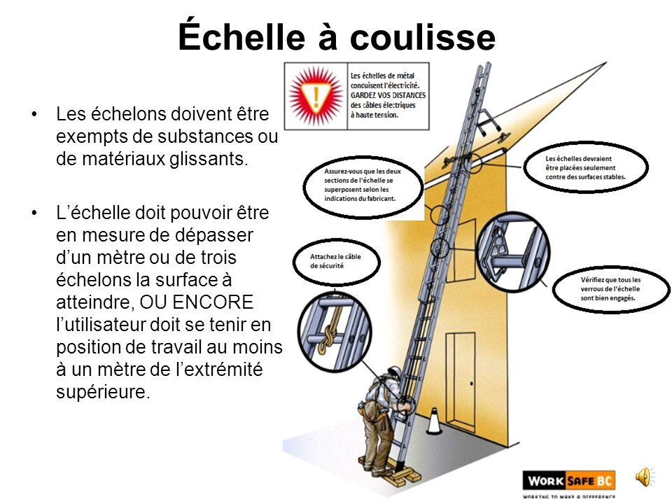 Chelles welcome to the ladder safety training part of the road service employee h s training - Echelle a coulisse ...
