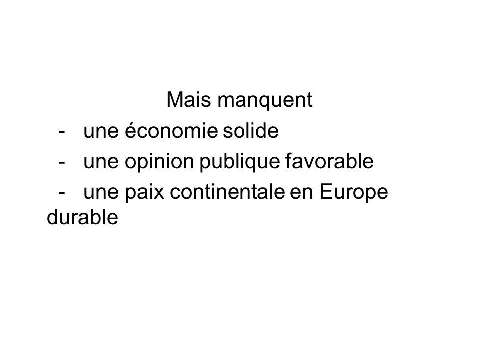Mais manquent - une économie solide. - une opinion publique favorable.