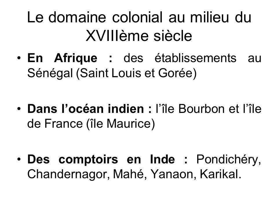Le domaine colonial au milieu du XVIIIème siècle