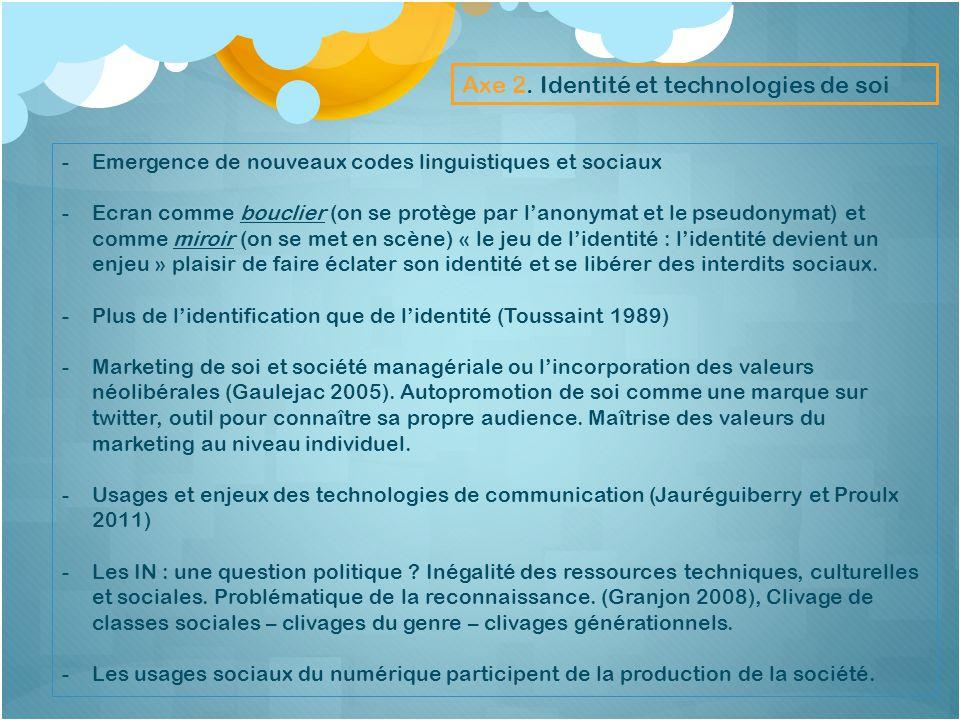 Axe 2. Identité et technologies de soi