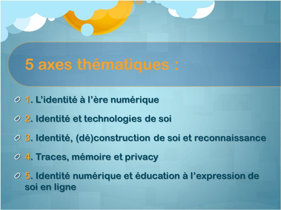 5 axes thématiques : 1. L'identité à l'ère numérique