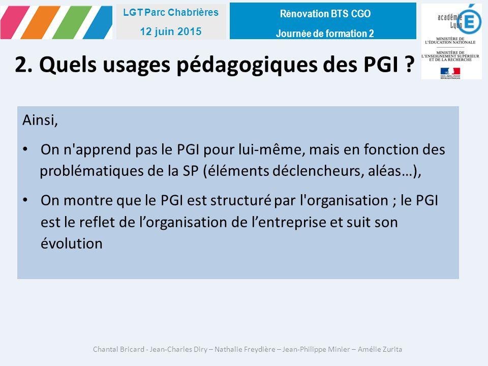 2. Quels usages pédagogiques des PGI