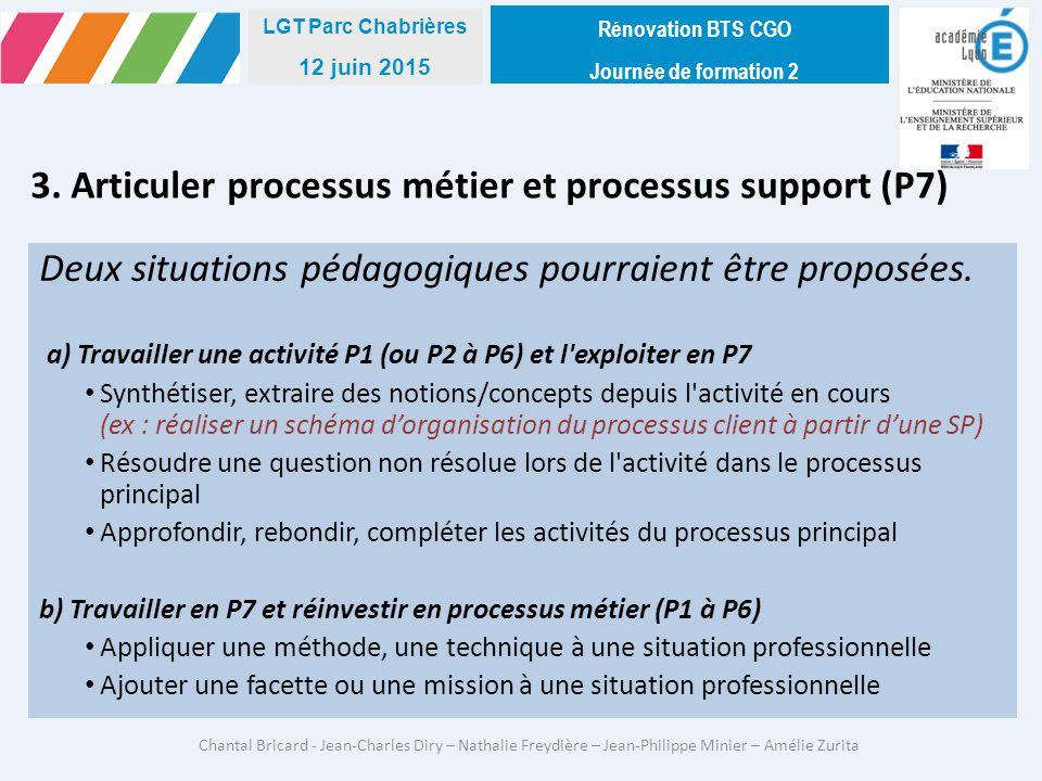3. Articuler processus métier et processus support (P7)