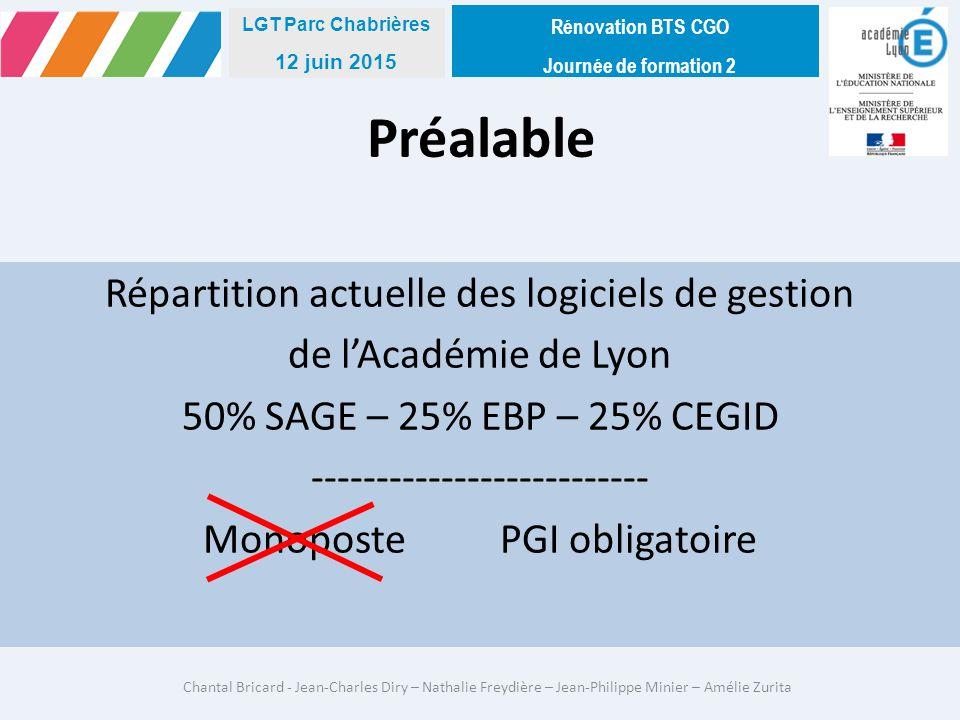 Rénovation BTS CGO Journée de formation 2. LGT Parc Chabrières. 12 juin 2015. Préalable.