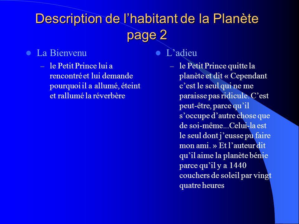 Description de l'habitant de la Planète page 2