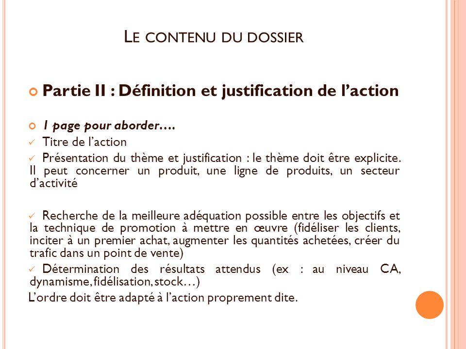 Partie II : Définition et justification de l'action