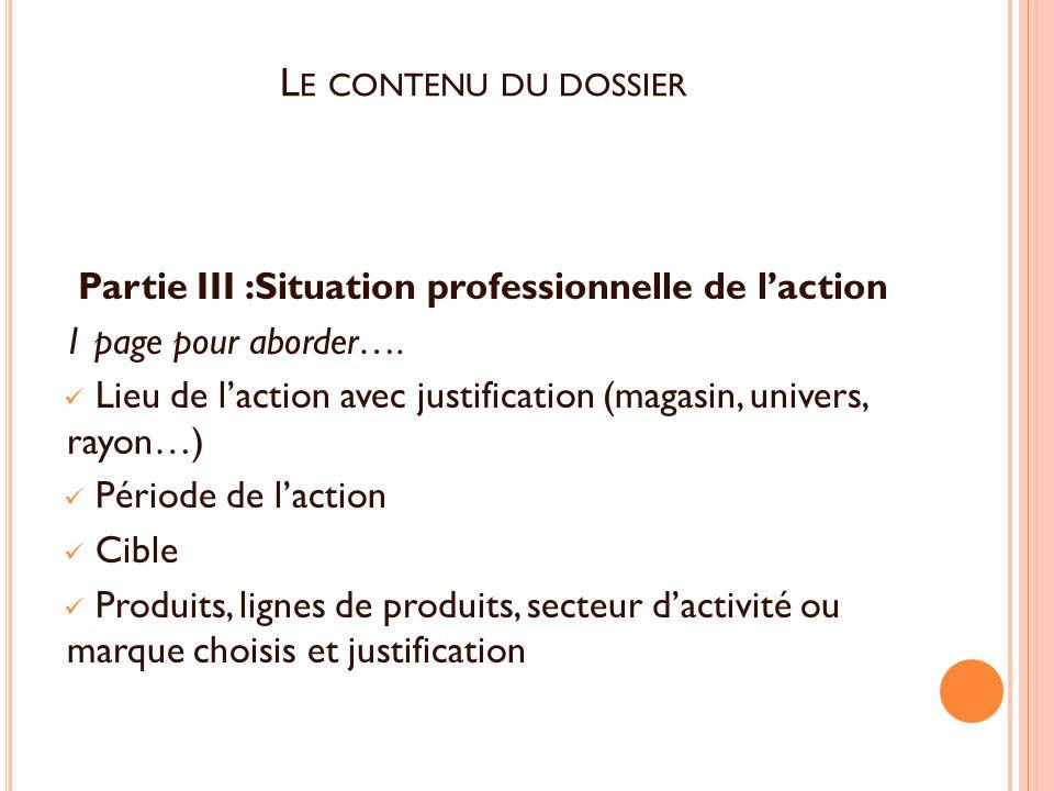Partie III :Situation professionnelle de l'action