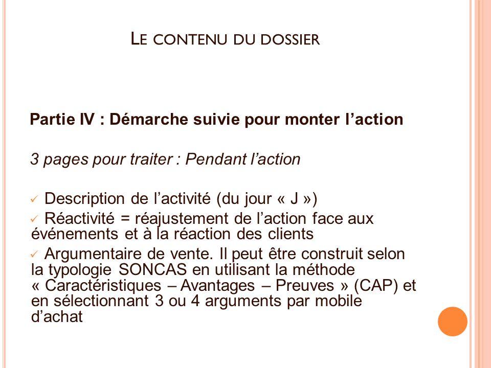 Le contenu du dossier Partie IV : Démarche suivie pour monter l'action