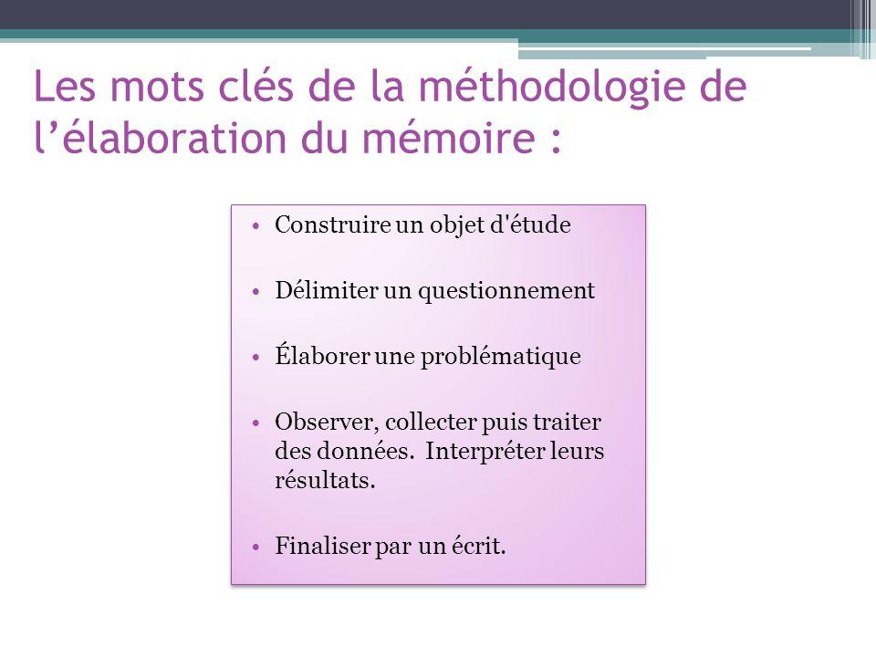Les mots clés de la méthodologie de l'élaboration du mémoire :