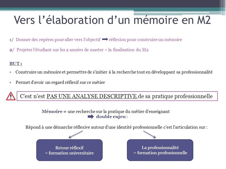 Vers l'élaboration d'un mémoire en M2