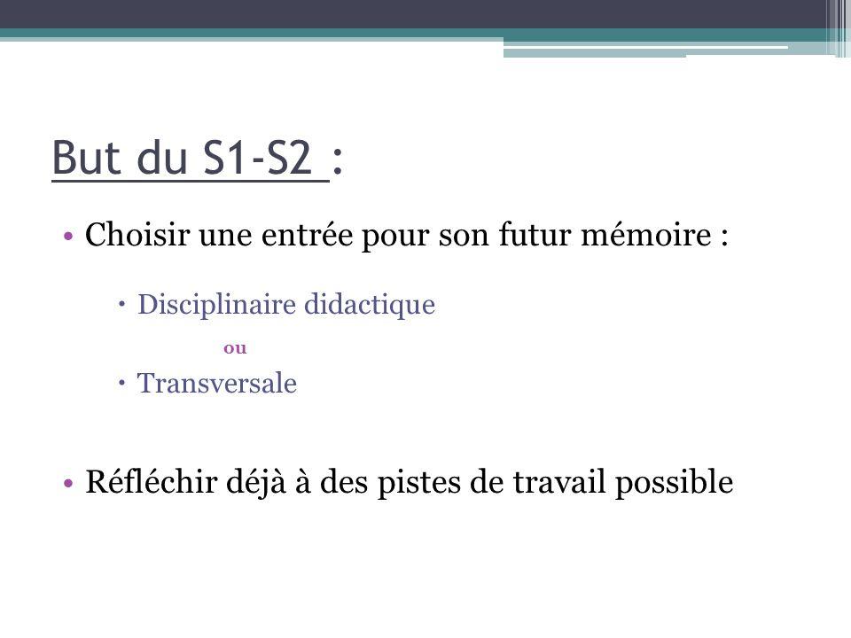 But du S1-S2 : Choisir une entrée pour son futur mémoire :
