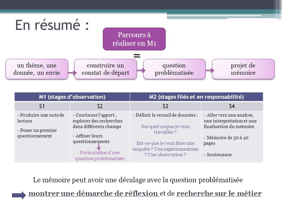 M1 (stages d'observation) M2 (stages filés et en responsabilité)