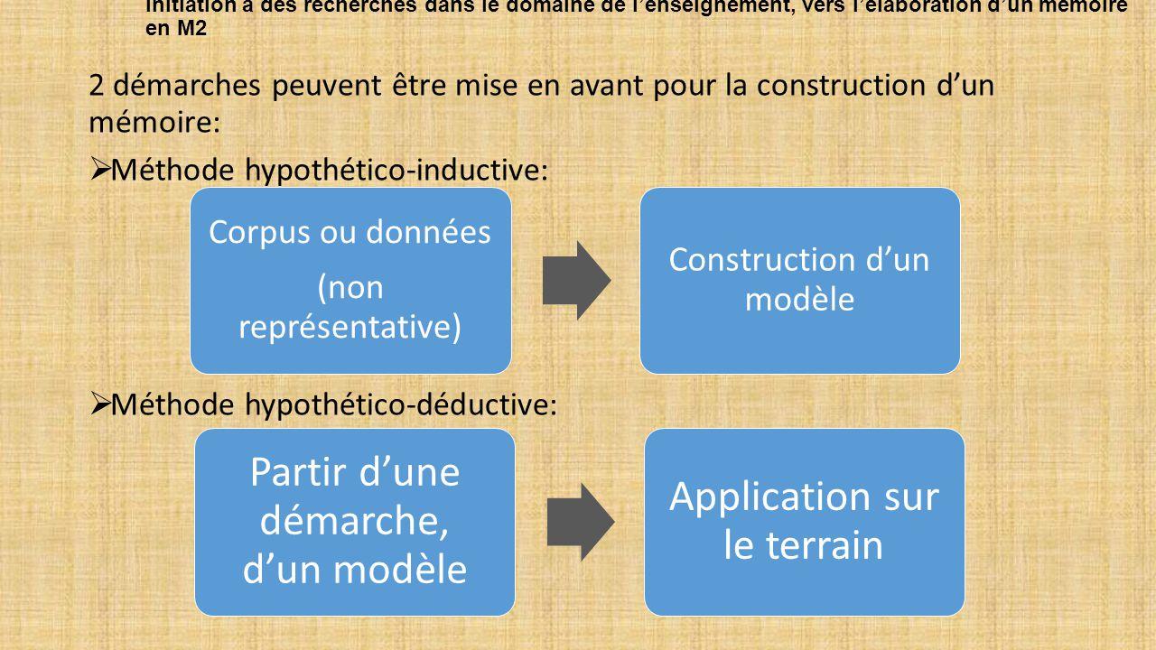 Partir d'une démarche, d'un modèle Application sur le terrain