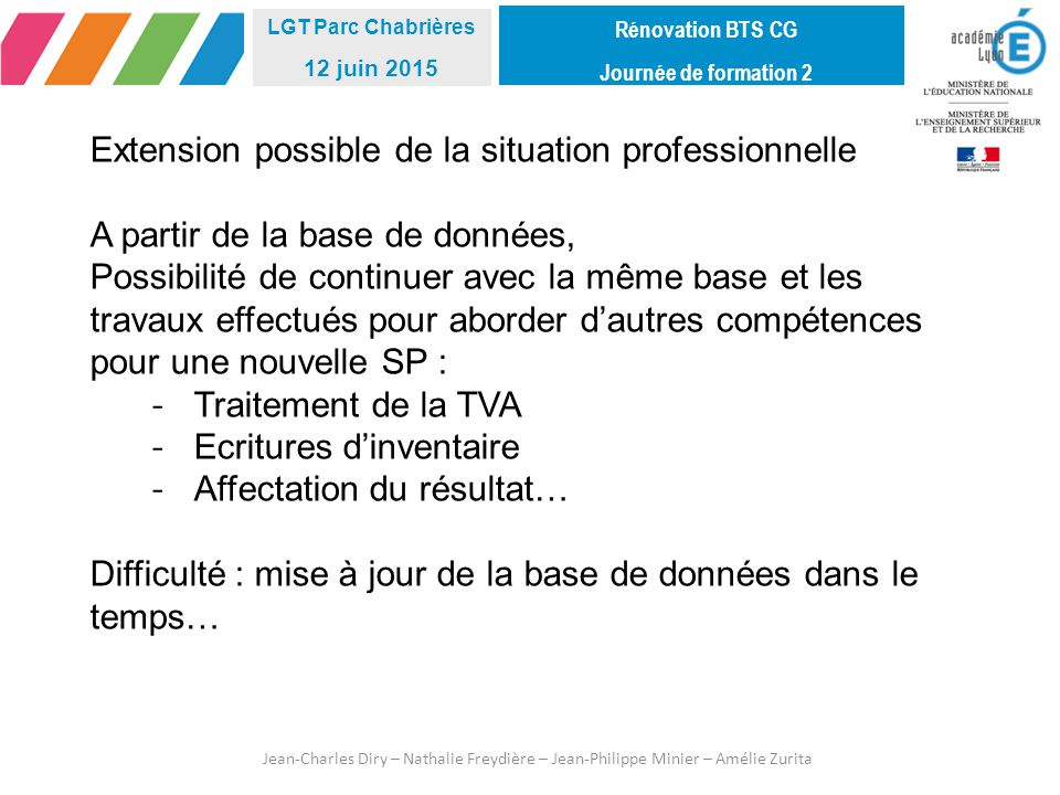 Extension possible de la situation professionnelle