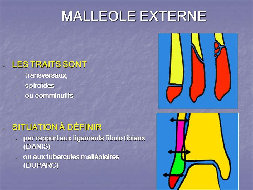 MALLEOLE EXTERNE LES TRAITS SONT SITUATION À DÉFINIR spiroïdes