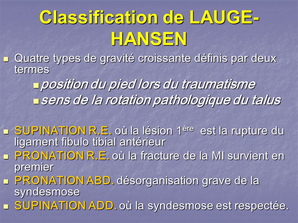 Classification de LAUGE-HANSEN