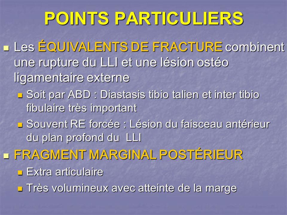 POINTS PARTICULIERS Les ÉQUIVALENTS DE FRACTURE combinent une rupture du LLI et une lésion ostéo ligamentaire externe.