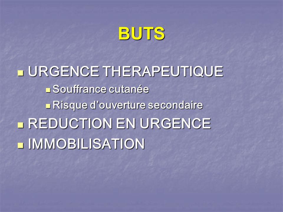 BUTS URGENCE THERAPEUTIQUE REDUCTION EN URGENCE IMMOBILISATION