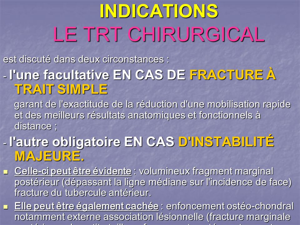 INDICATIONS LE TRT CHIRURGICAL