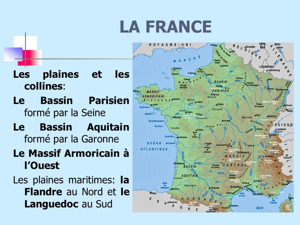LA FRANCE Les plaines et les collines: