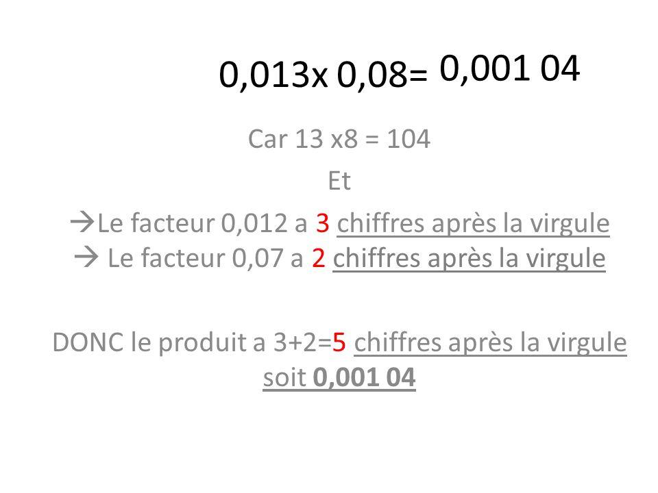 DONC le produit a 3+2=5 chiffres après la virgule soit 0,001 04