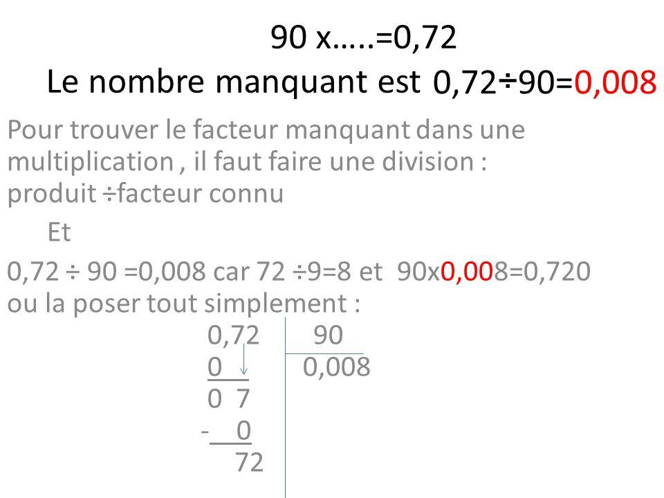 90 x…..=0,72 Le nombre manquant est