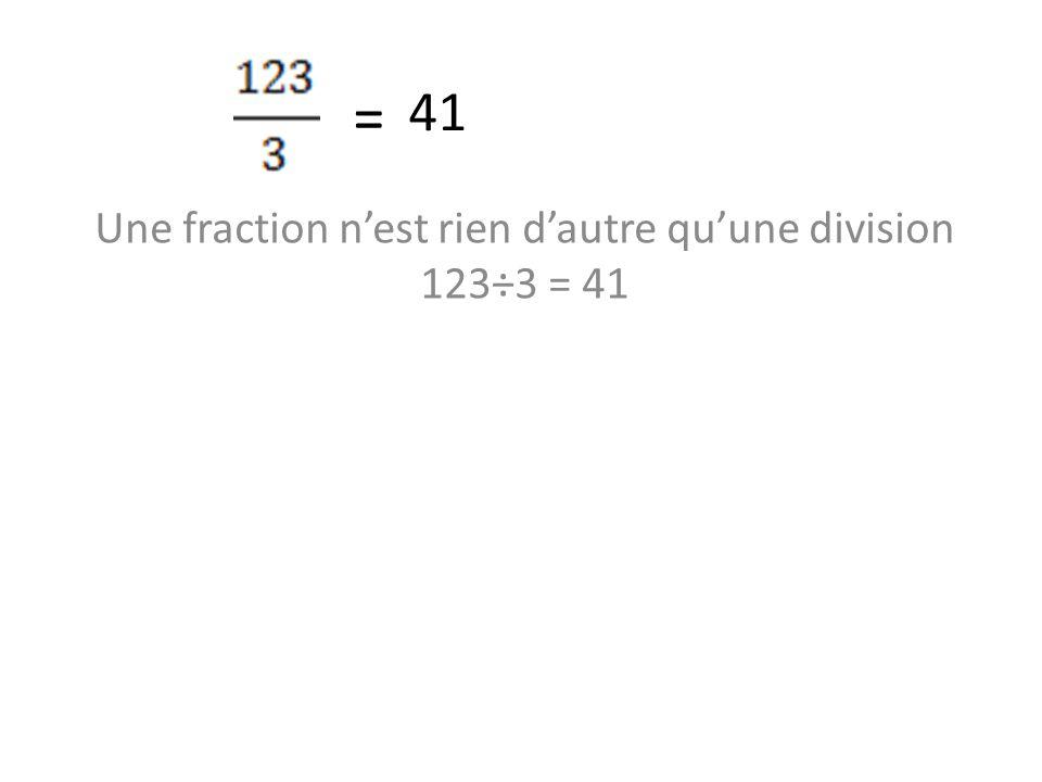 Une fraction n'est rien d'autre qu'une division 123÷3 = 41