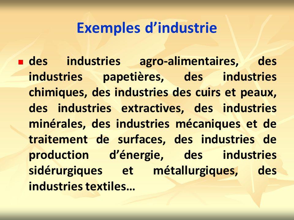 Exemples d'industrie