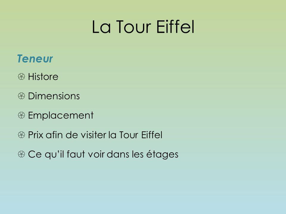 La tour eiffel teneur histore dimensions emplacement ppt t l charger - Dimensions de la tour eiffel ...