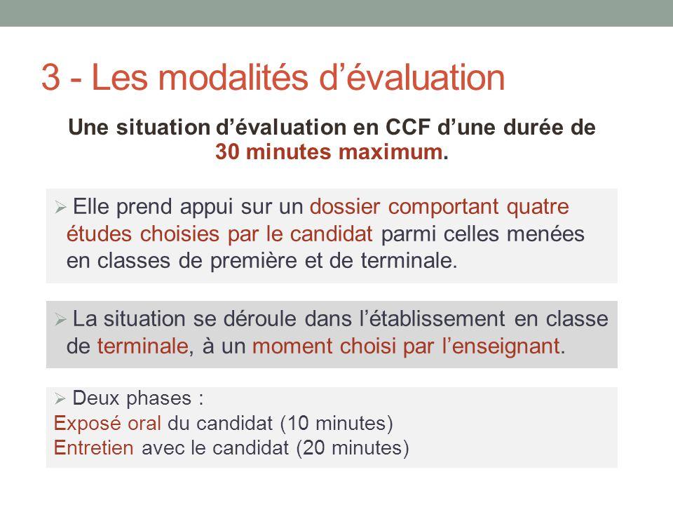 3 - Les modalités d'évaluation