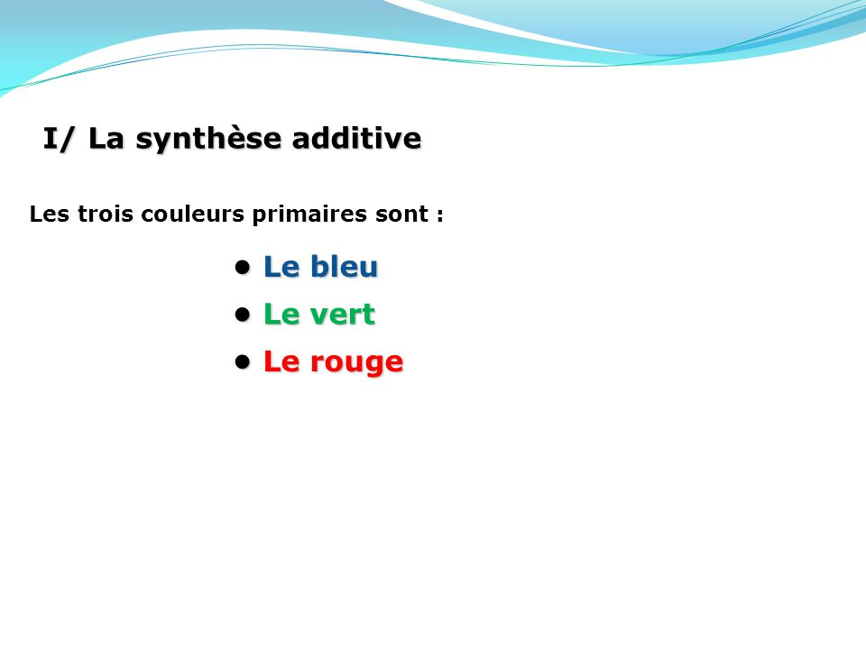 I/ La synthèse additive