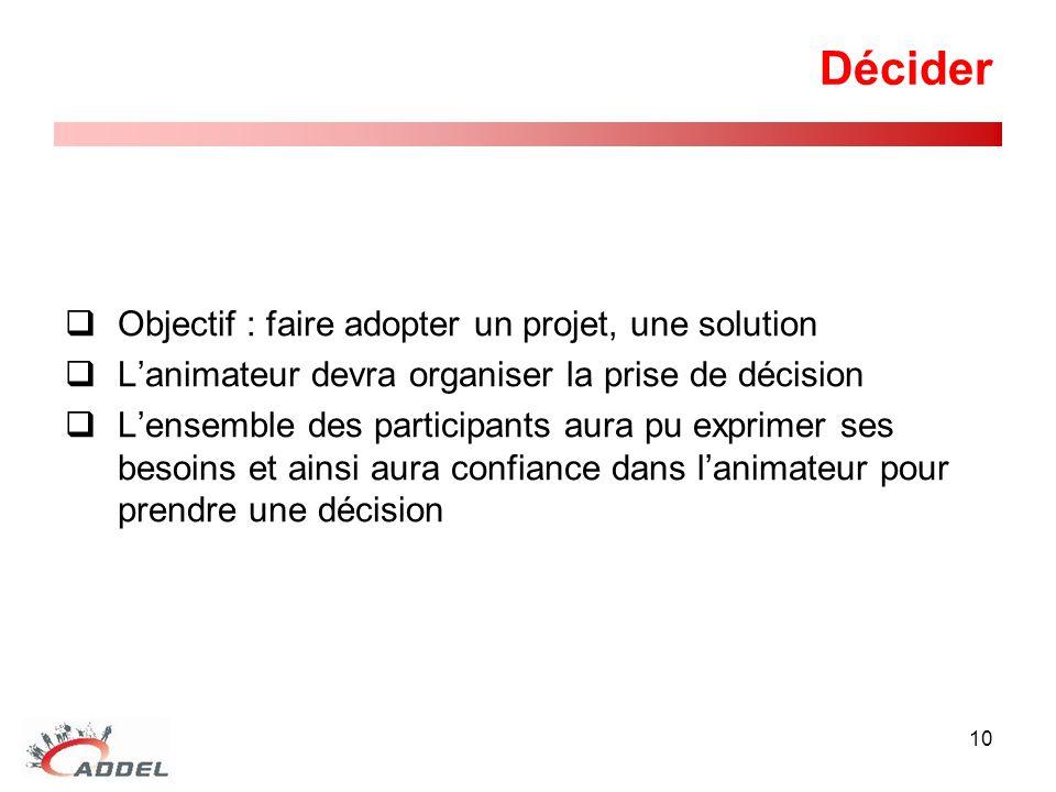 Décider Objectif : faire adopter un projet, une solution