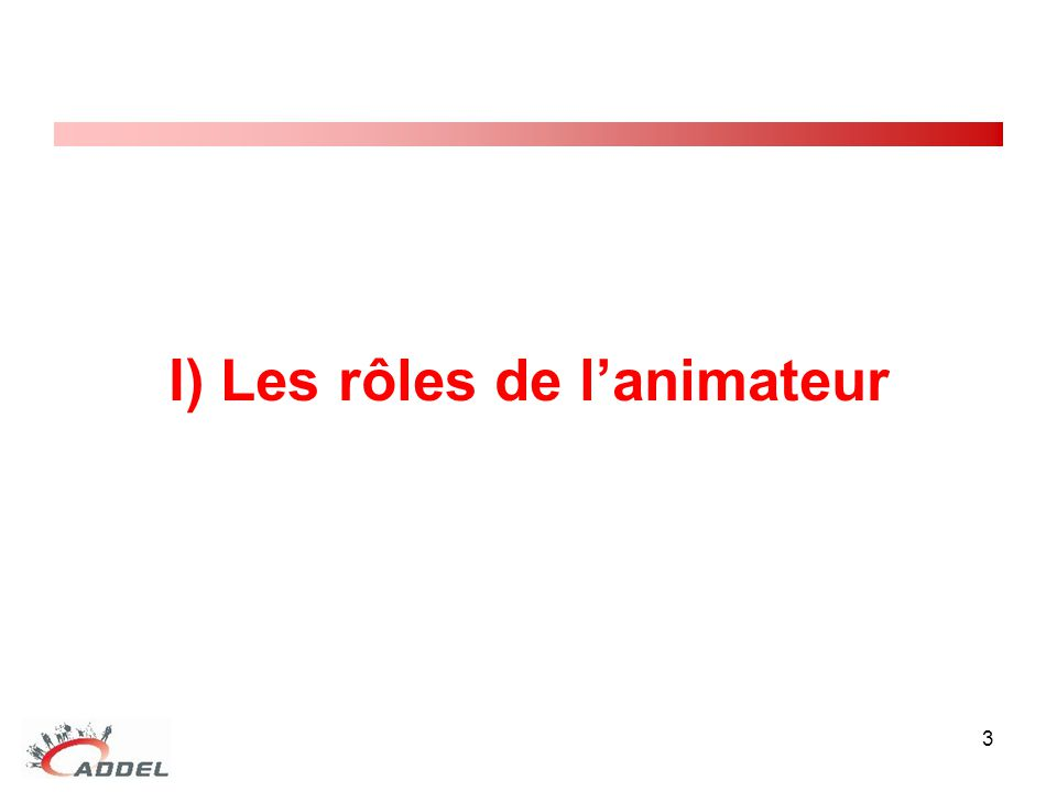 I) Les rôles de l'animateur