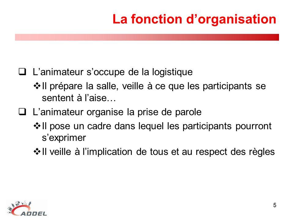 La fonction d'organisation