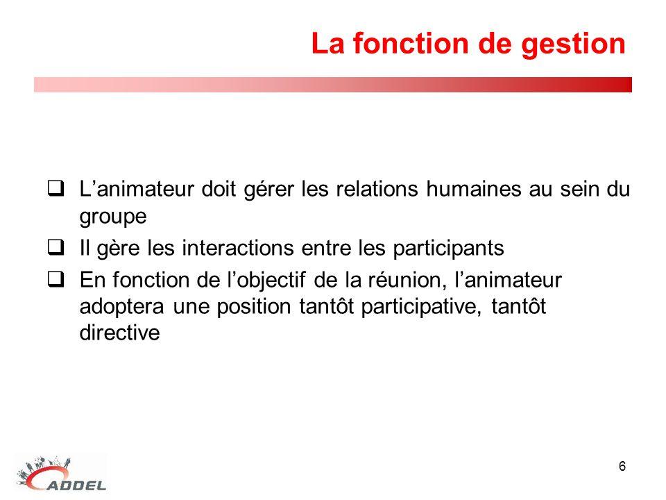 La fonction de gestion L'animateur doit gérer les relations humaines au sein du groupe. Il gère les interactions entre les participants.