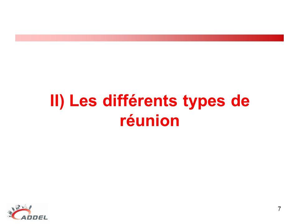 II) Les différents types de réunion