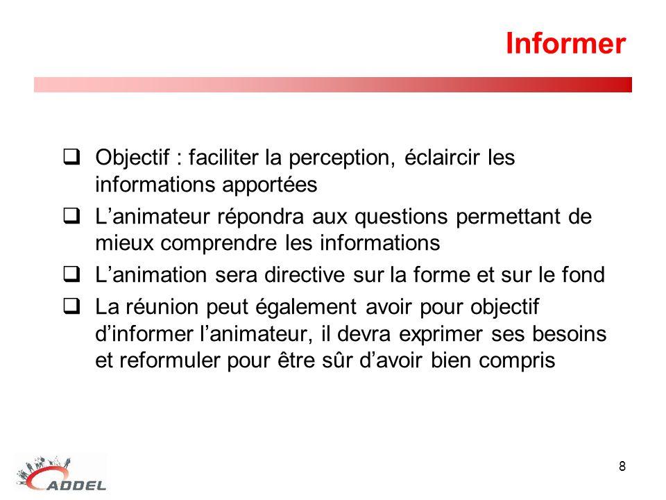 Informer Objectif : faciliter la perception, éclaircir les informations apportées.