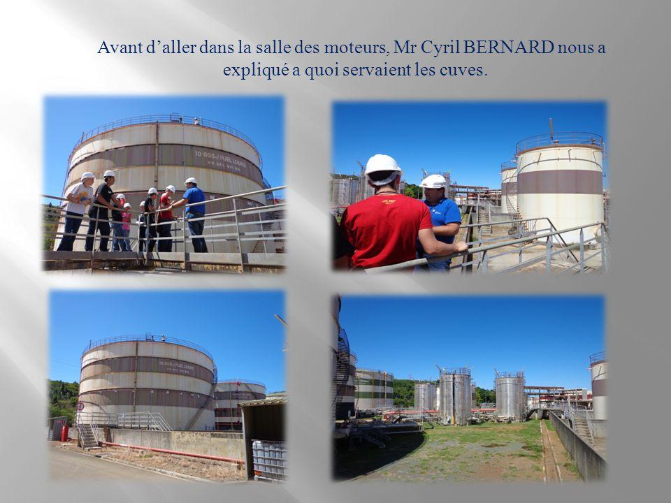 Avant d'aller dans la salle des moteurs, Mr Cyril BERNARD nous a expliqué a quoi servaient les cuves.