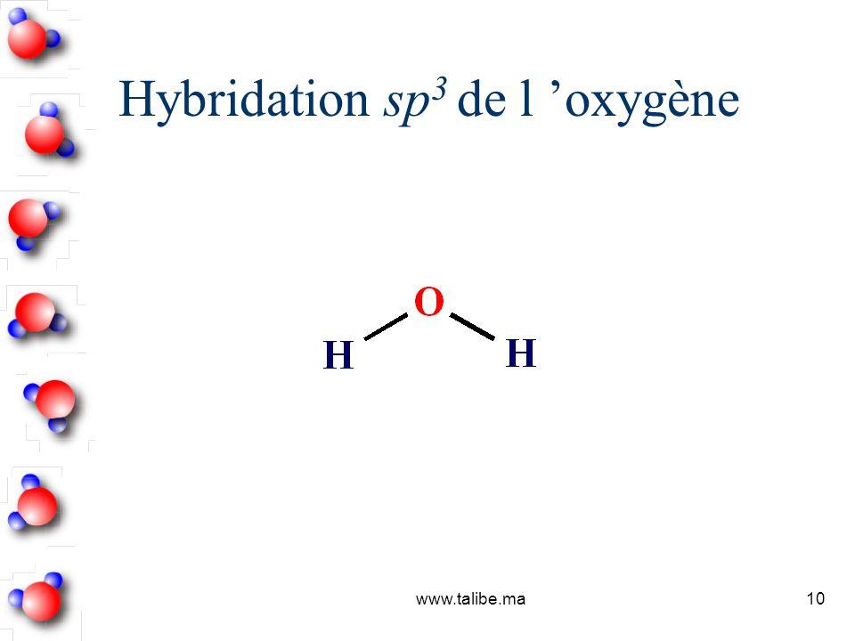 Hybridation sp3 de l 'oxygène