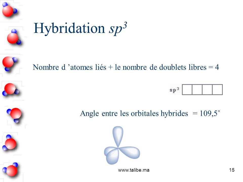 Hybridation sp3 Nombre d 'atomes liés + le nombre de doublets libres = 4. Angle entre les orbitales hybrides = 109,5˚