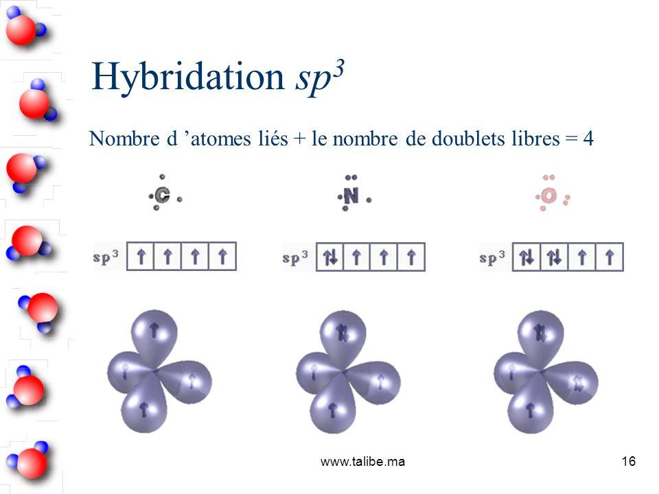 Hybridation sp3 Nombre d 'atomes liés + le nombre de doublets libres = 4 www.talibe.ma