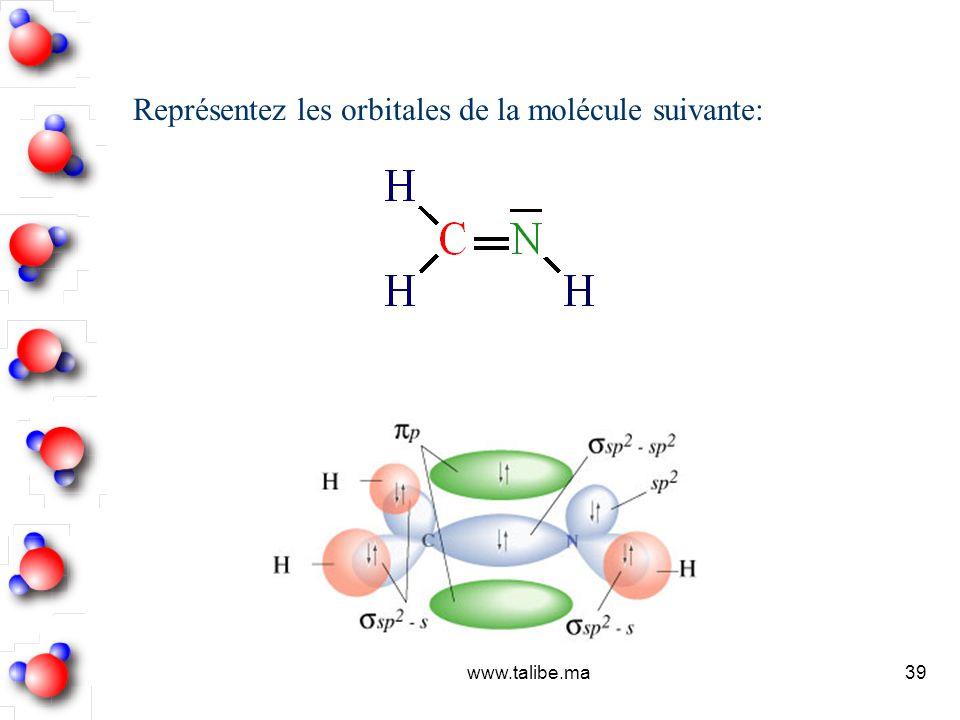 Représentez les orbitales de la molécule suivante: