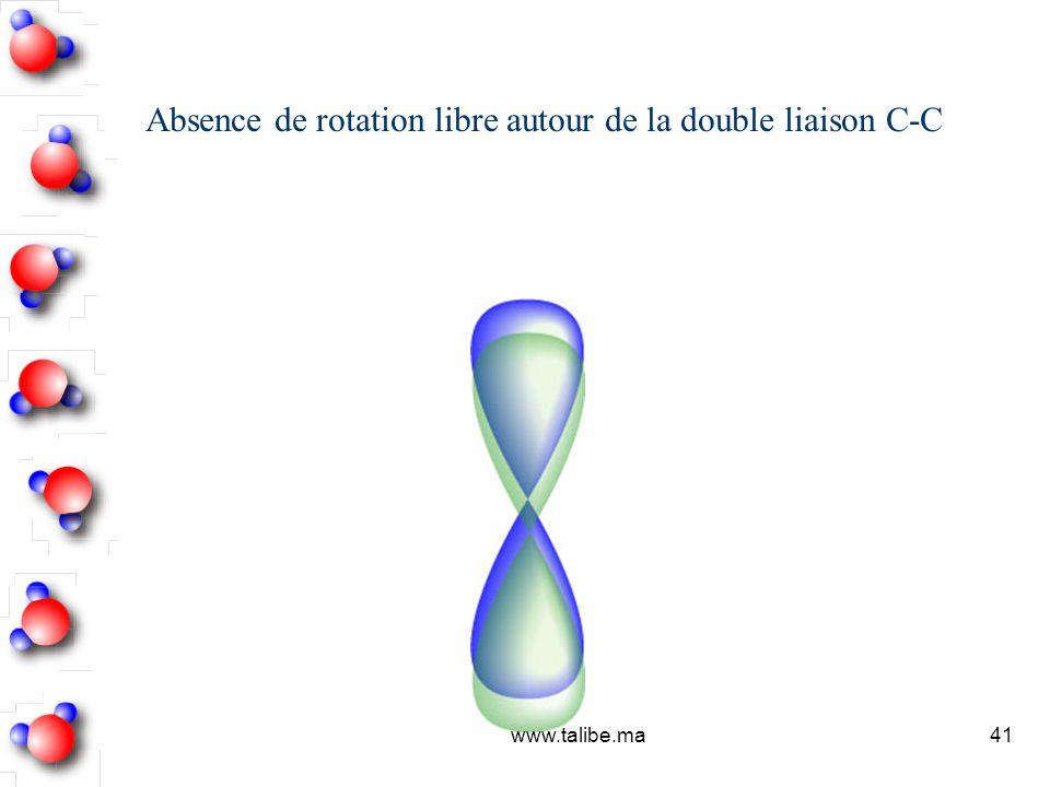 Absence de rotation libre autour de la double liaison C-C