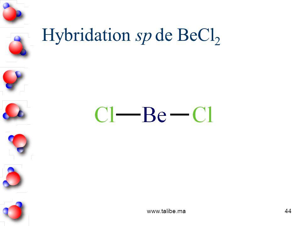 Hybridation sp de BeCl2 www.talibe.ma