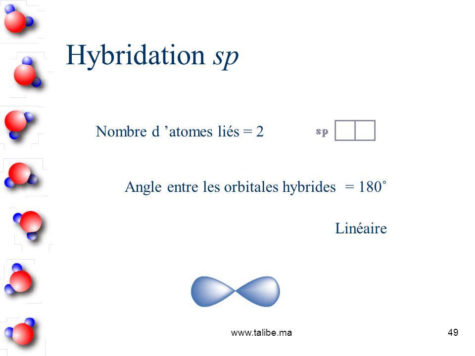 Hybridation sp Nombre d 'atomes liés = 2