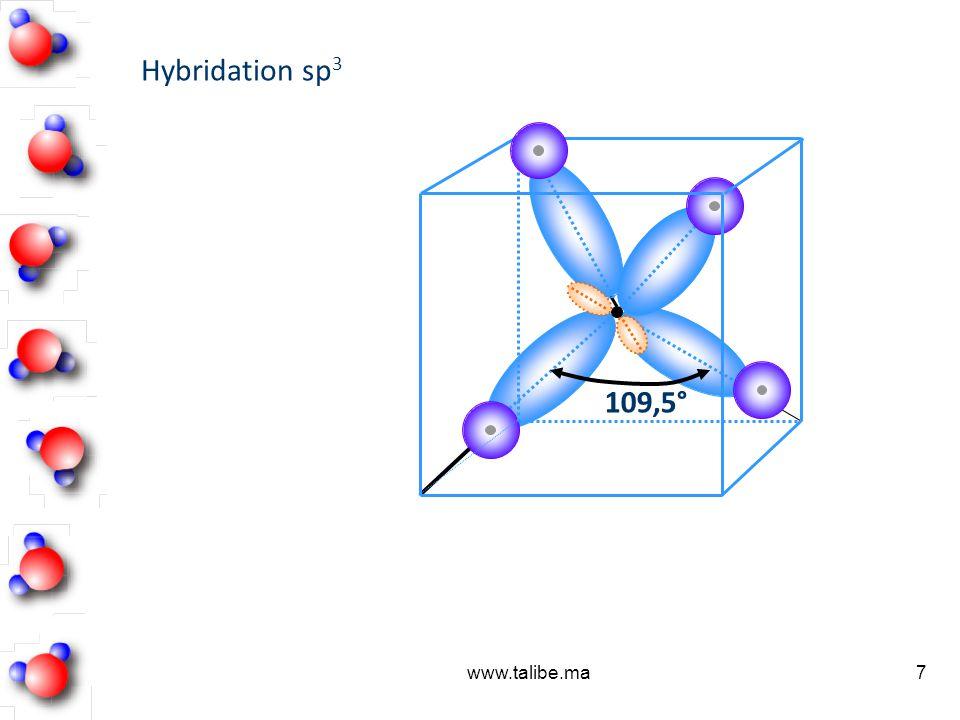 Hybridation sp3 109,5° www.talibe.ma