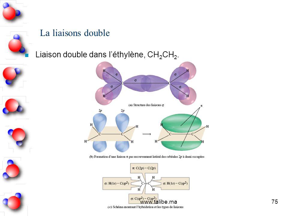 La liaisons double Liaison double dans l'éthylène, CH2CH2.